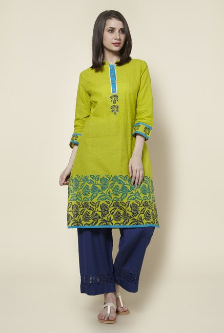 Zudio Lime Green Pure Cotton Kurta