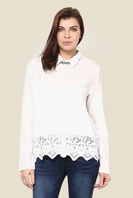 Only White Lace Shirt