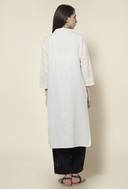 Zudio Off White Solid Kurta
