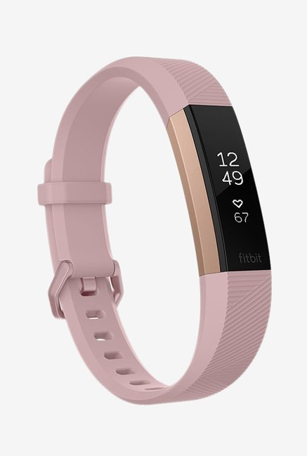Fitbit Alta HR Fitness Tracker (Pink, Rose Gold) Small