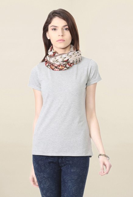 People Grey Textured T Shirt