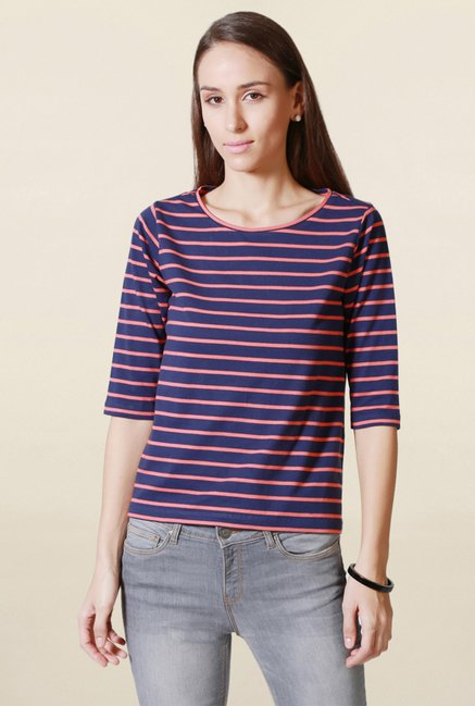 Solly by Allen Solly Navy Striped Top