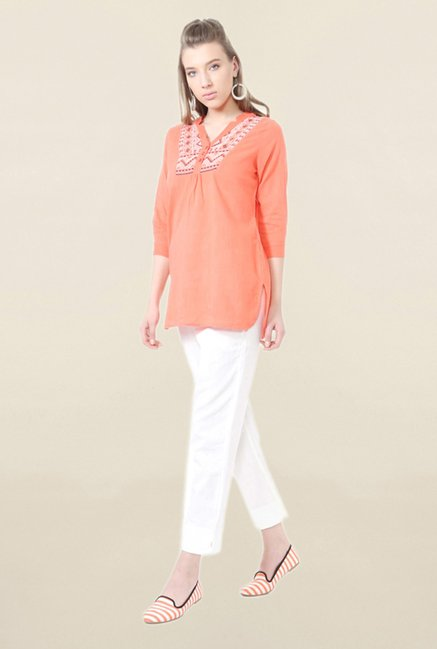 People Peach Embroidered Tunic