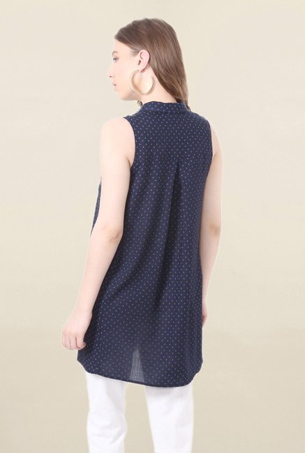 People Navy Printed Tunic