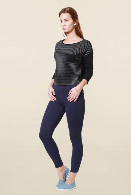 People Black Striped Top