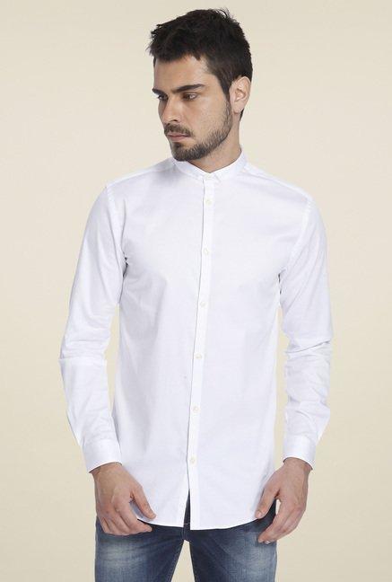 225f80a5d5 Buy Jack & Jones White Band Collar Slim Fit Shirt for Men Online ...