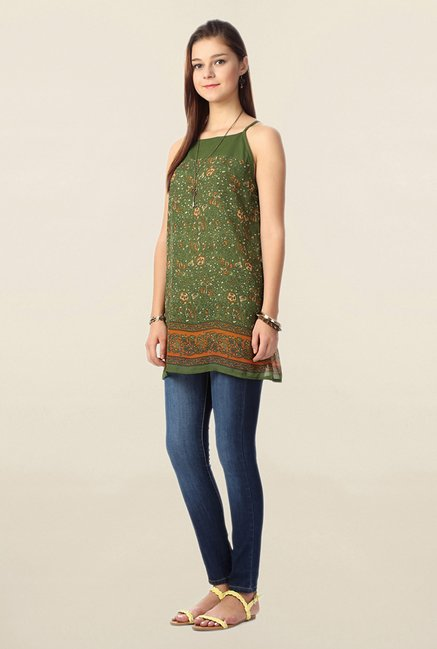 People Green Printed Tunic