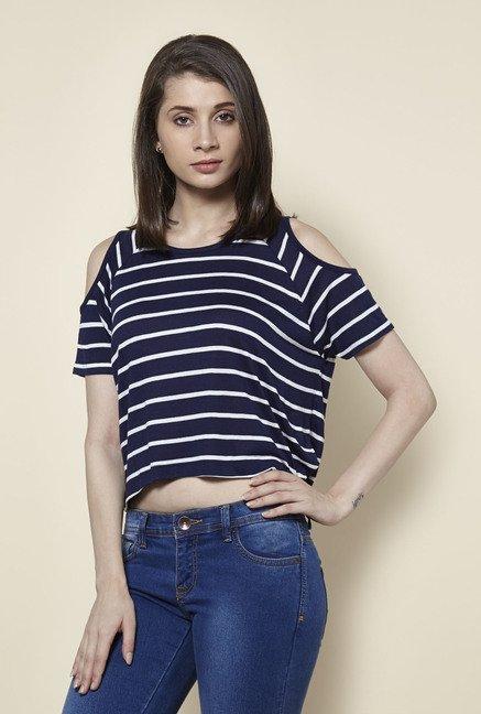 Zudio Navy & White Kelly Striped T Shirt