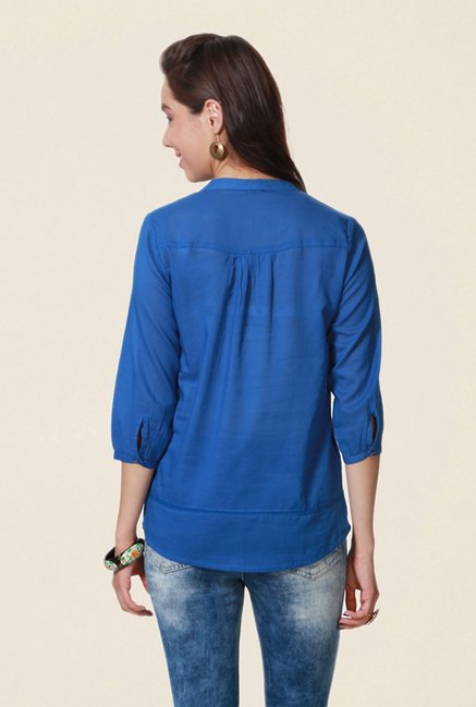 People Blue Solid Top