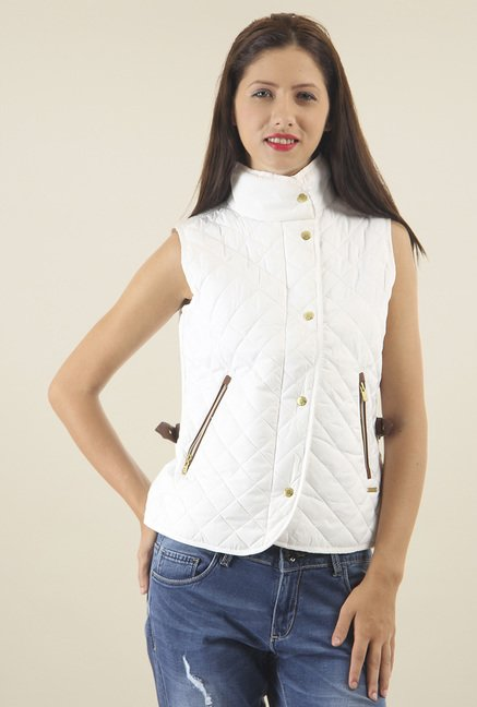 ae3317f45 Buy Pepe Jeans White Sleeveless Jacket for Women Online @ Tata CLiQ
