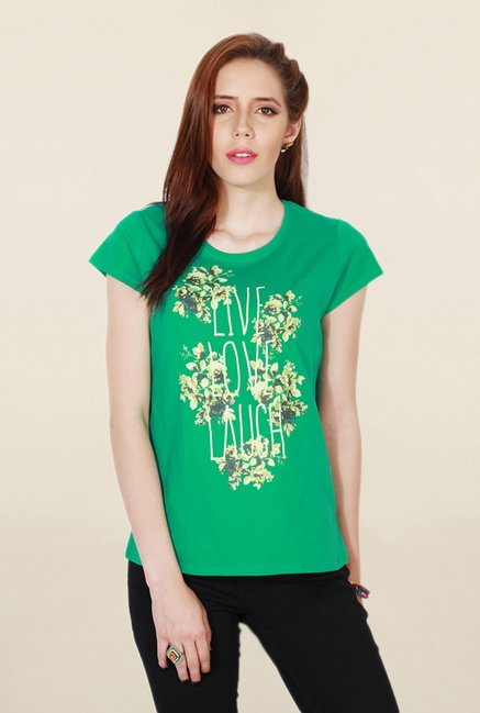 People Green Graphic Print T Shirt