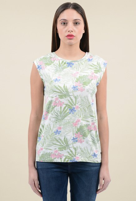 Pepe Jeans White Printed Round Neck Top