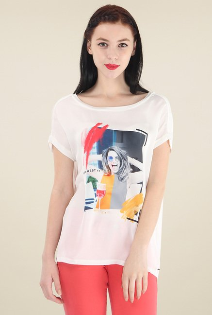 Pepe Jeans White Round Neck Printed T-Shirt