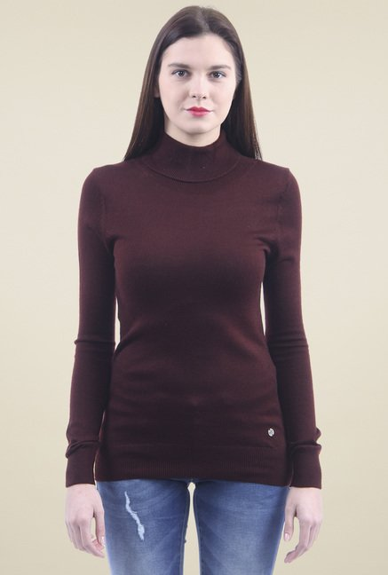Pepe Jeans Maroon Full Sleeves Cotton Sweater