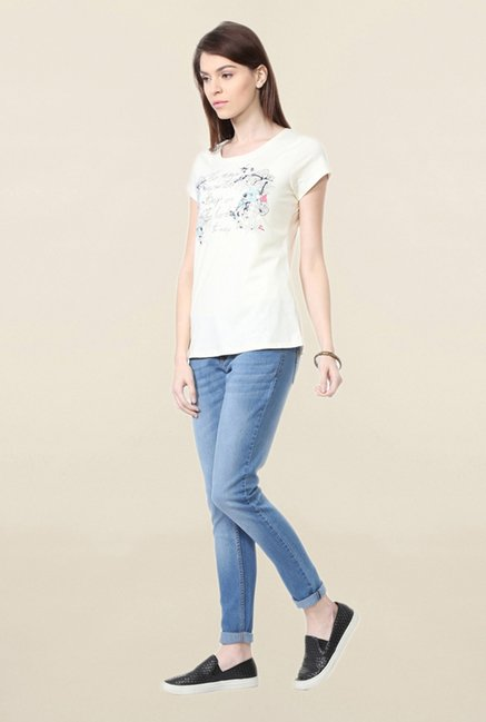 People Cream Graphic Print T Shirt