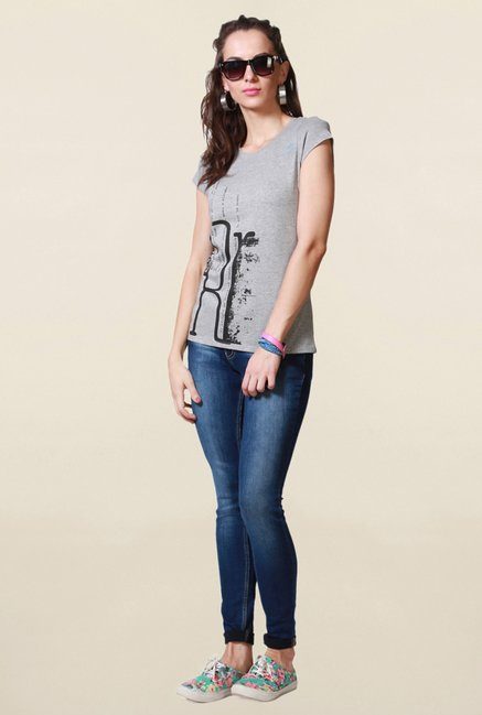 People Grey Printed T Shirt