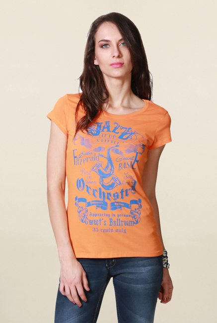 People Orange Graphic Print T Shirt