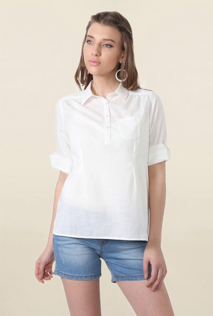 People White Textured Top