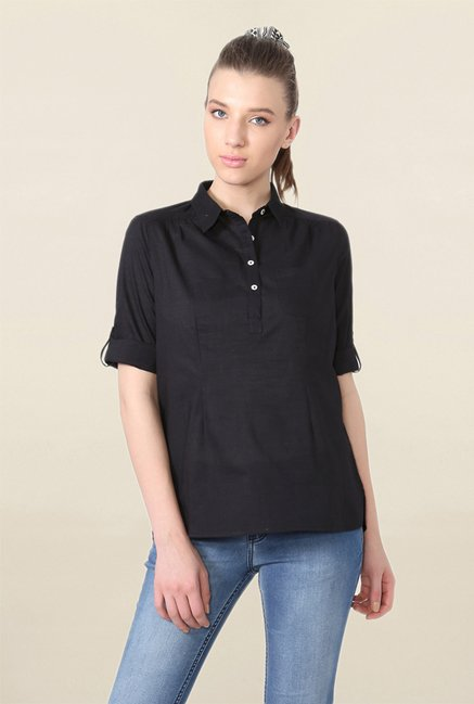 People Black Textured Top