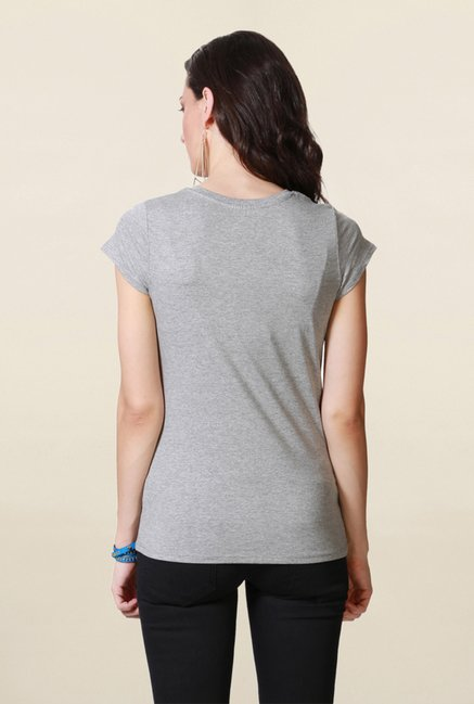 People Grey Graphic Print T Shirt