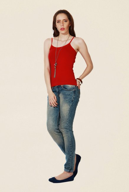 People Red Solid Cami Top
