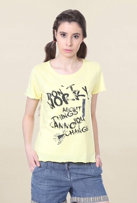 People Yellow Graphic Print T Shirt