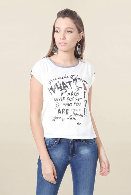 People White Graphic Print T Shirt