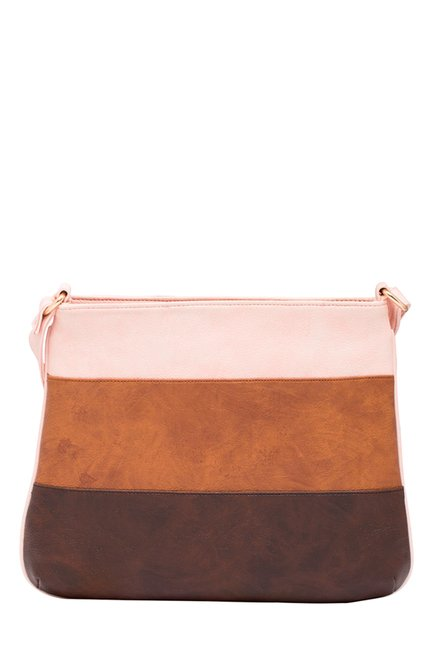 Esbeda Tan & Brown Color Block Sling Bag