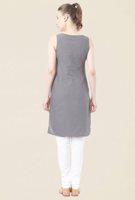 People Grey Printed Cotton Kurta