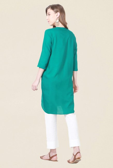 People Green Solid Kurta