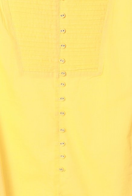 People Yellow Textured Cotton Kurta