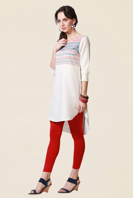 People Cream Printed Cotton Kurta