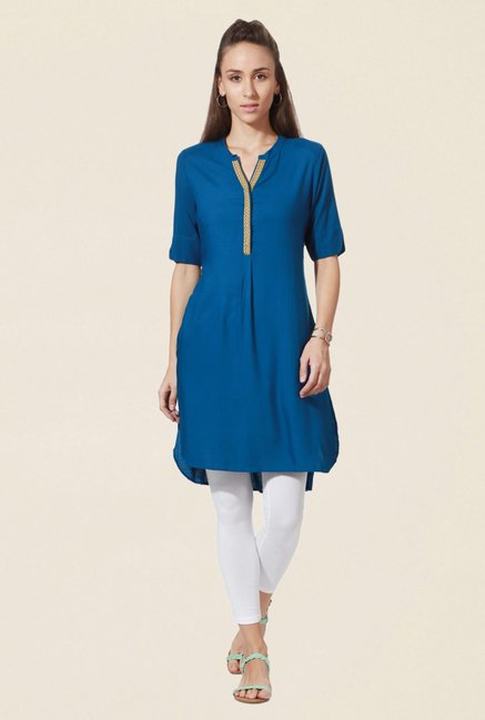 People Blue Textured Kurta