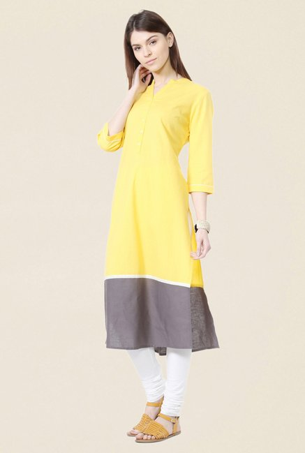 People Yellow Solid Cotton Kurta