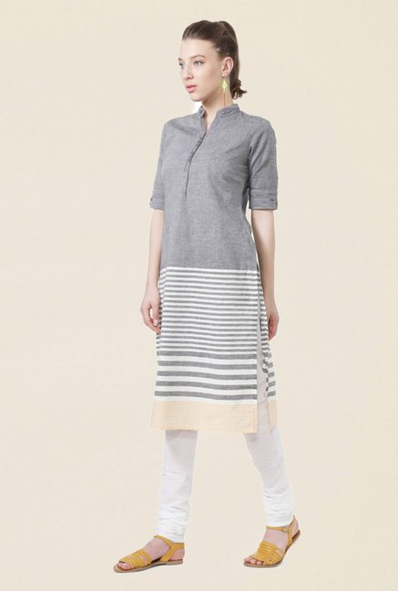 People Grey Striped Cotton Kurta