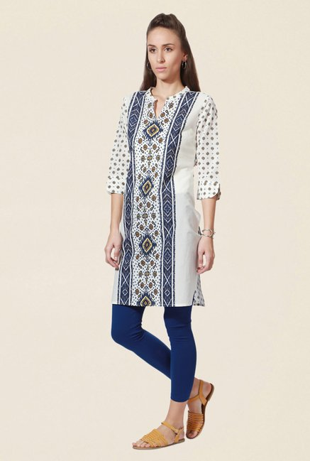 People White Printed Cotton Kurta