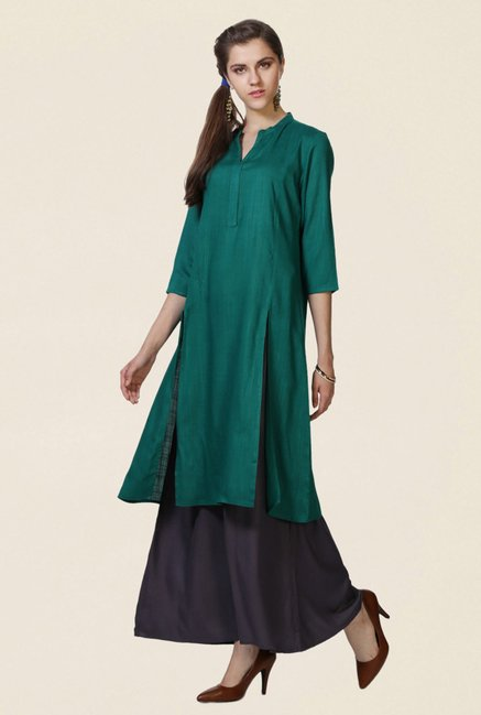 People Green Textured Kurta