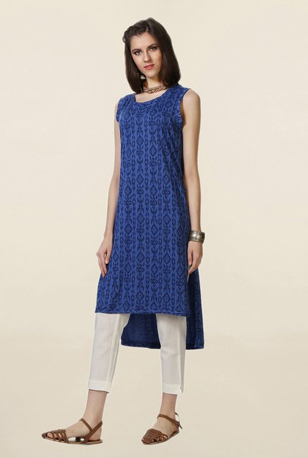People Blue Printed Kurta