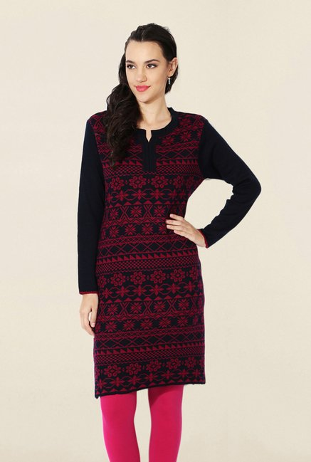 People Navy Printed Kurta