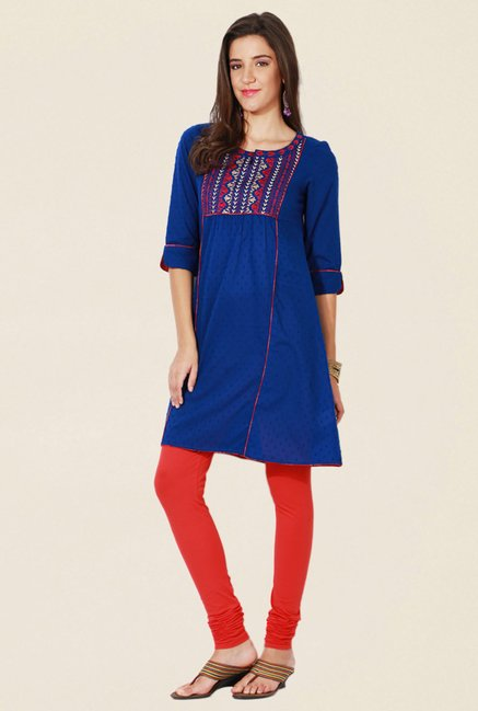 People Blue Embroidered Cotton Kurta