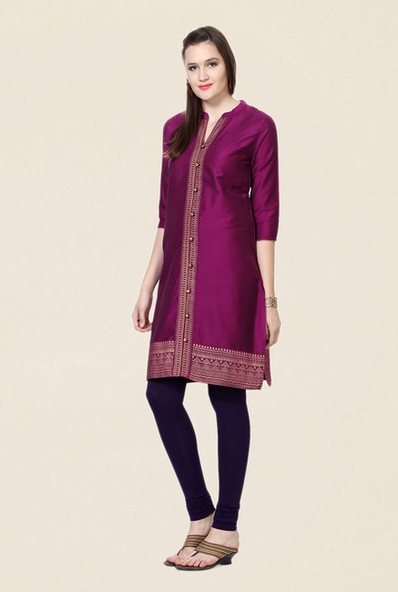 People Purple Printed Kurta