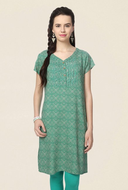 People Green Printed Kurta