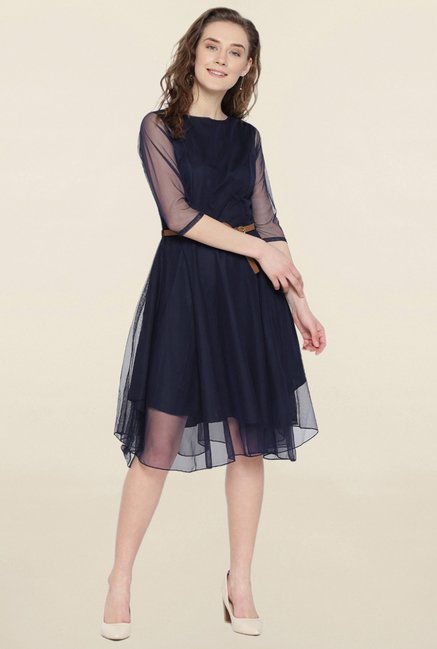d3d5dc07398cf Buy U&F Navy Skater Dress for Women Online @ Tata CLiQ