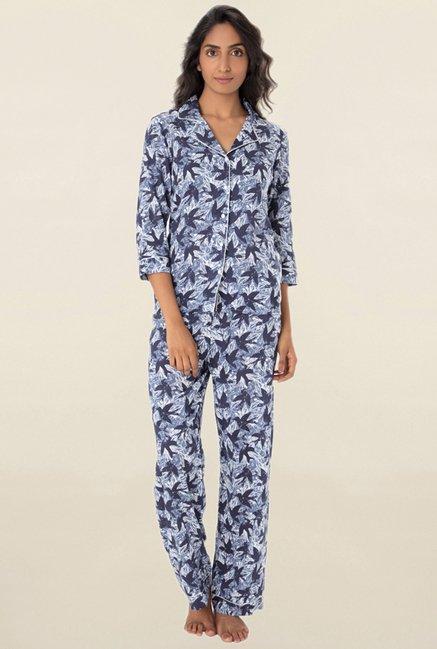 39d7c2fbc757 Buy PrettySecrets Navy Printed Pyjama Set for Women Online   Tata CLiQ