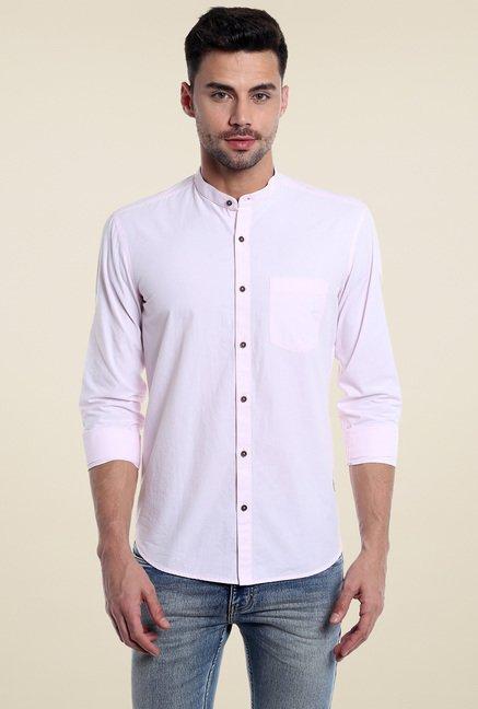 3ad7118e Buy Numero Uno Baby Pink Mandarin Collar Slim Fit Shirt for Men Online @  Tata CLiQ