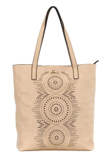 Lavie Litharge Beige Cut Work Tote