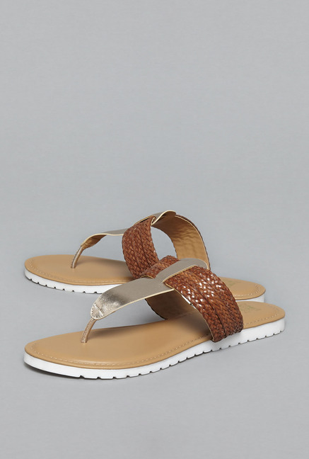 018706be0b8f Buy Head Over Heels by Westside Tan Woven Sandals For Women Online At Tata  CLiQ