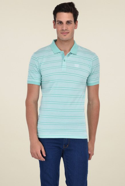 c6a0282f631b Buy Octave Mint Green Regular Fit Polo T-Shirt for Men Online @ Tata ...