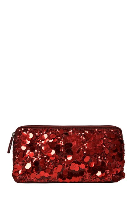 Baggit L Frenzy Brush Red Sequined Clutch