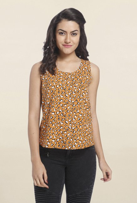Only Yellow Heart Print Top